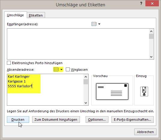 Word Allgemeine Tipps Briefumschlag Absender Voreinstellen