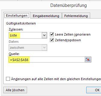 Excel - Datenverwaltung und -bearbeitung - Zell-Auswahlliste mit ...